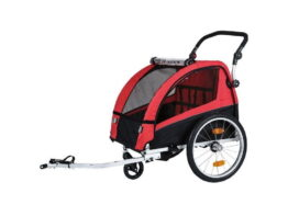 Children's bike trailer for rent together with the bikes