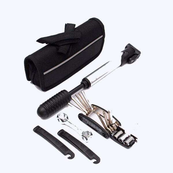 Kit reparação de furos para bicicletas inclui uma bomba, multi-ferramentas, câmara de ar e desmonta pneus