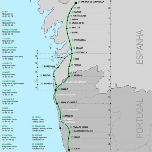 Caminho de Santiago português da costa Mapa